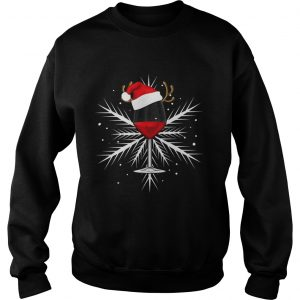 Snowflake wine with Santa hat sweatshirt