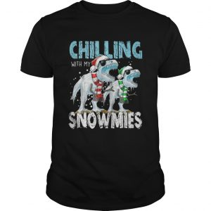 T Rex Dinosaurs chilling with my snowmies christmas guys shirt