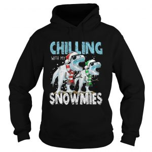 T Rex Dinosaurs chilling with my snowmies christmas hoodie shirt
