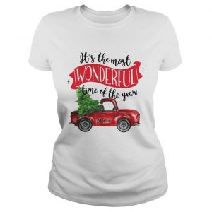 Wonderful time of the year Christmas tree red car believe ladies shirt