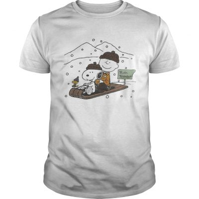 Snoopy and Charlie snowboarding winter guys shirt