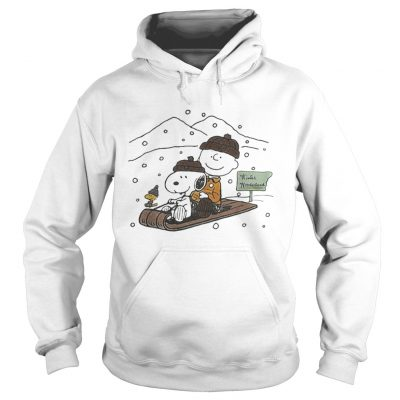 Snoopy and Charlie snowboarding winter hoodie shirt