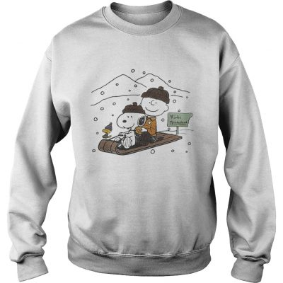 Snoopy and Charlie snowboarding winter sweat shirt