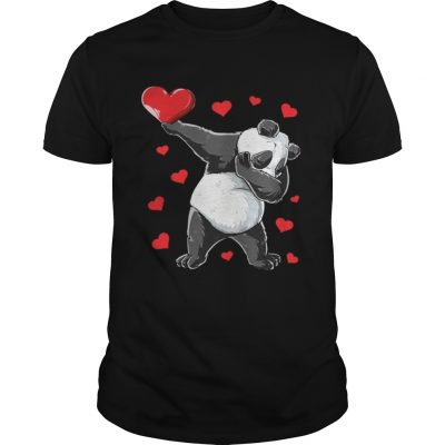 Dabbing Panda Heart Valentines Day Bear guy Shirt