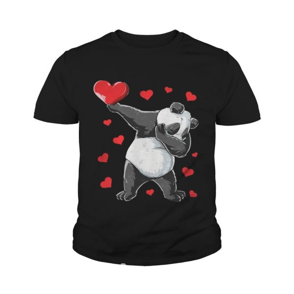 Dabbing Panda Heart Valentines Day Bear youth Shirt