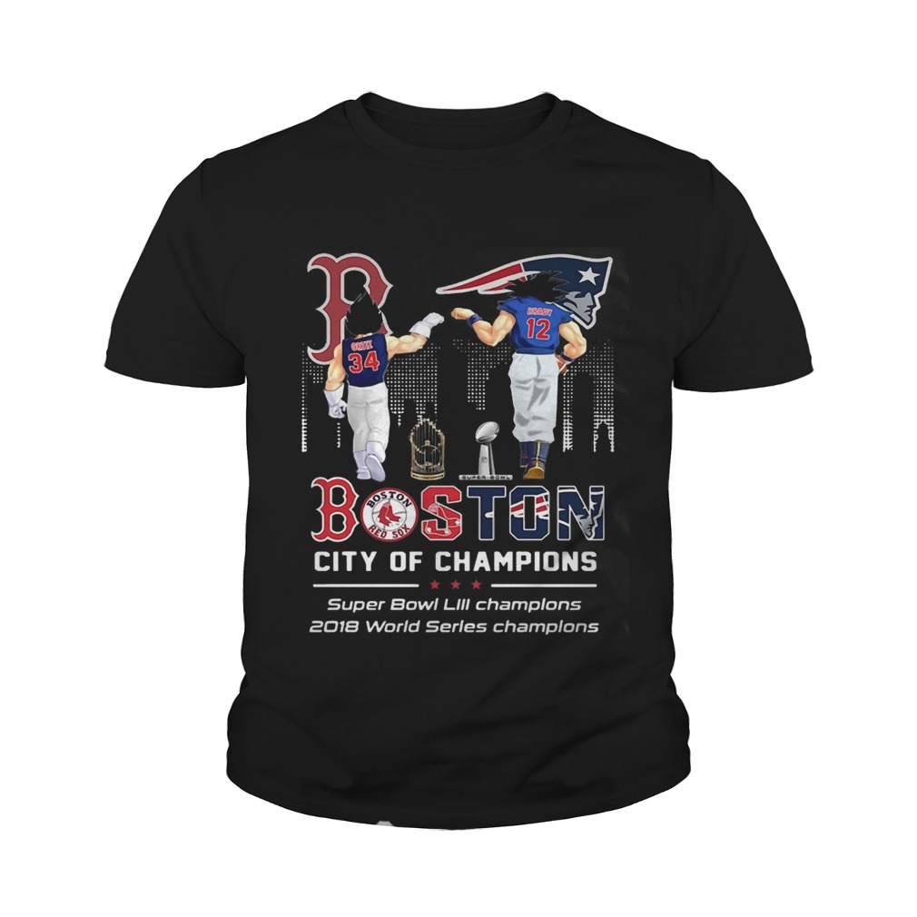 557fad82298 Songoku and Vegeta Tom Brady and David Ortiz Boston City of Champions Super  Bowl youth Shirt