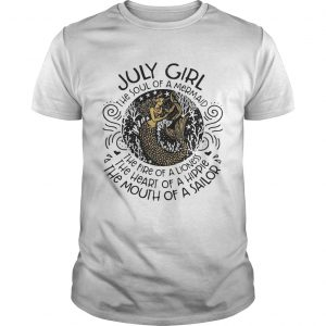 July girl the soul of a mermaid the fire of a lioness guy shirt