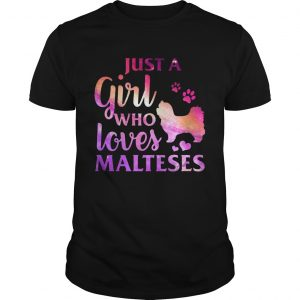 Just A Girl Who Loves Maltese Colorful Gift guy Shirt
