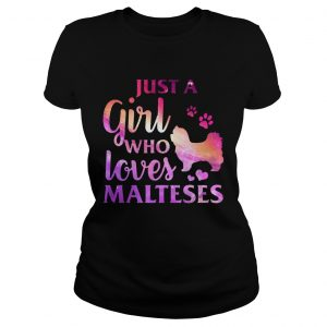 Just A Girl Who Loves Maltese Colorful Gift ladies Shirt