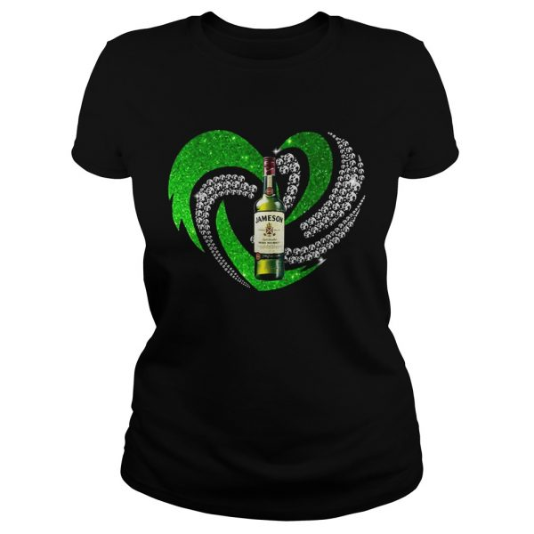 St Patricks Day Shamrock Irish Jameson Love Wine Heart Bling ladies shirt