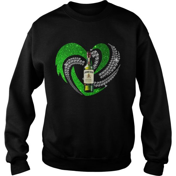 St Patricks Day Shamrock Irish Jameson Love Wine Heart Bling sweat shirt