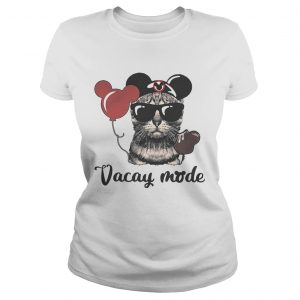 Cat with Mickey Mouse ears vacay mode ladies shirt
