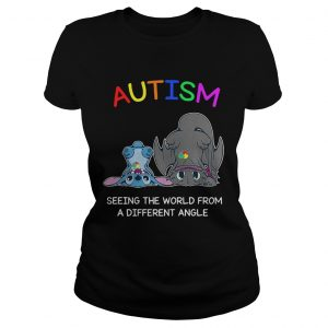 Stitch and Toothless Autism seeing the world from a different angle ladies shirt