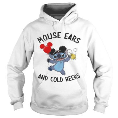 Stitch mouse ears and cold beers hoodie shirt