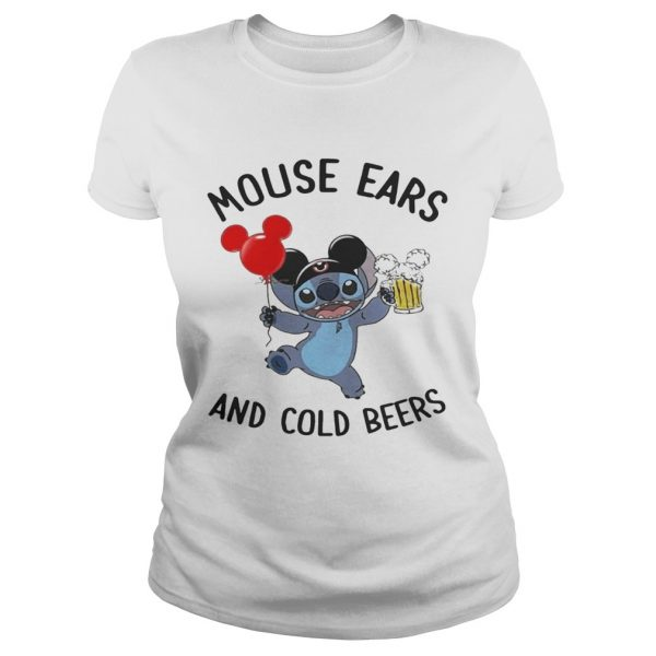 Stitch mouse ears and cold beers ladies shirt