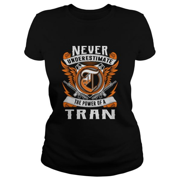 anever underestimate the power of the tran ladies tshirt