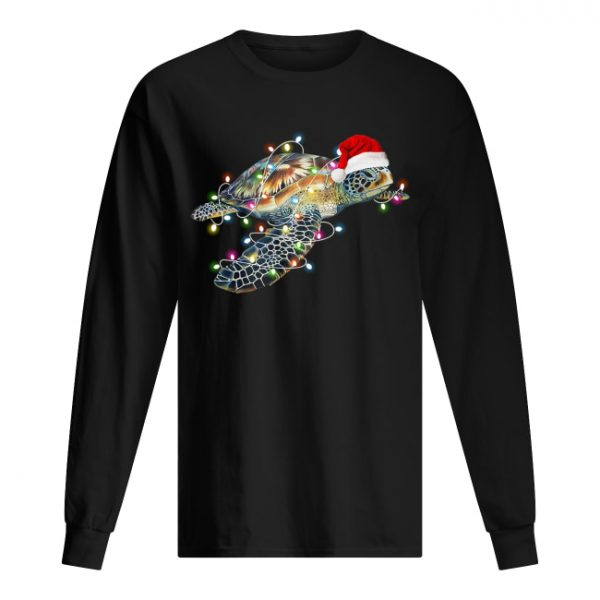 Turtle with Chirstmas hat and light  Long Sleeved T-shirt