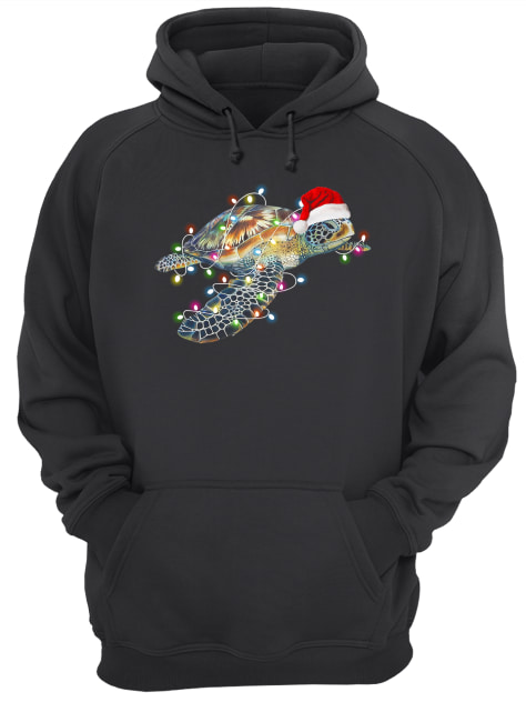 Turtle with Chirstmas hat and light  Unisex Hoodie