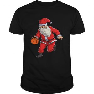 Basketball Santa Funny Christmas Gift with Hat Ball Sport TShirt Unisex