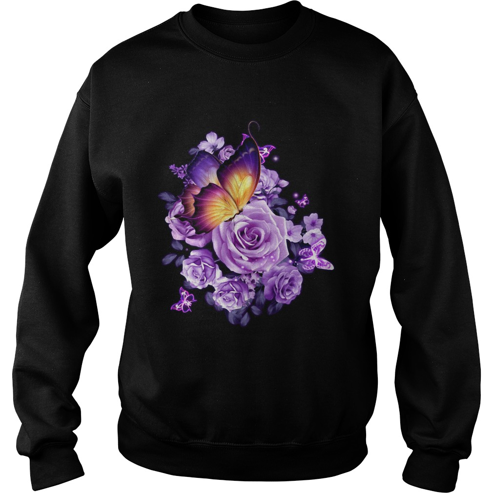 Butterfly purple rose Sweatshirt