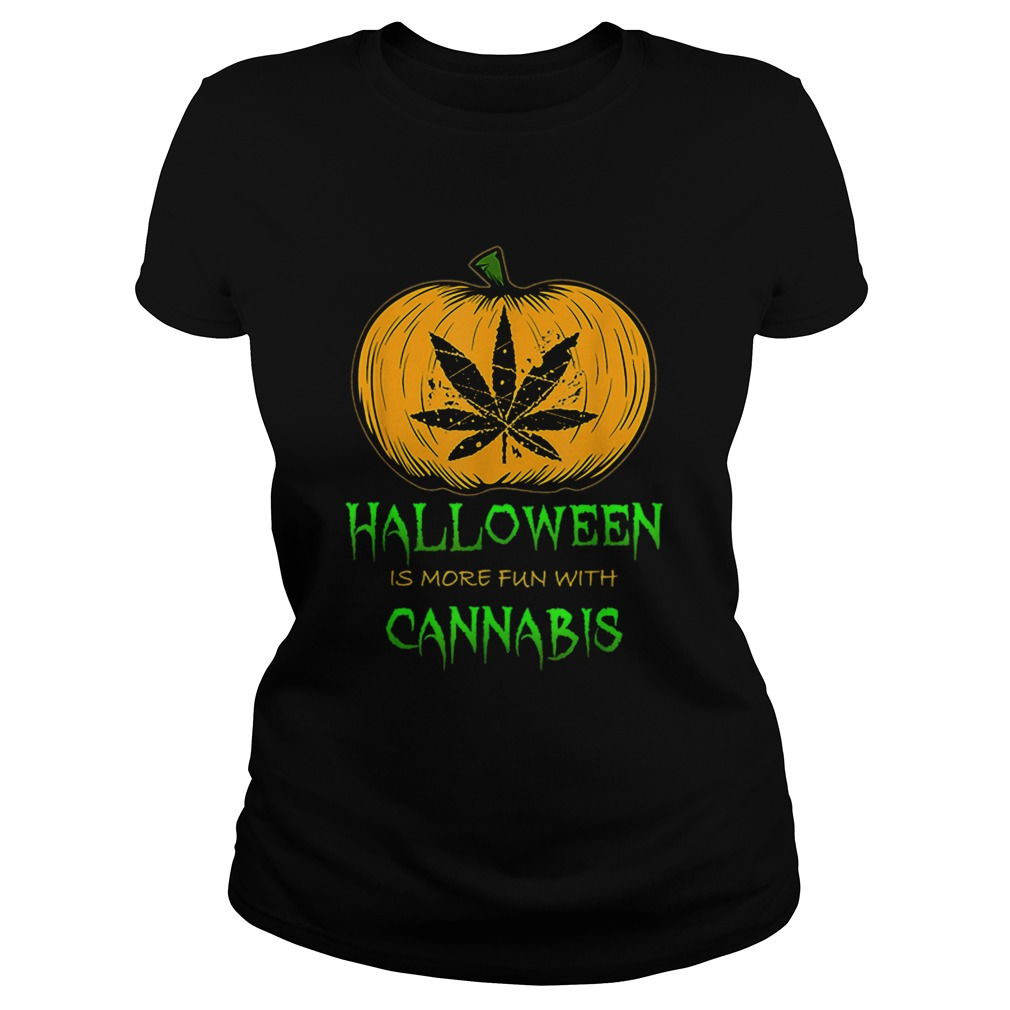 Halloween THC 420 Pumpkin Carving Stoner Cannibus Smoking Classic Ladies