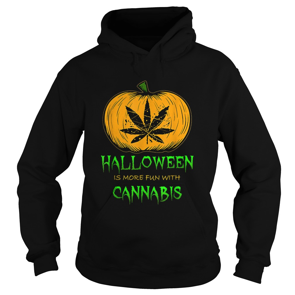 Halloween THC 420 Pumpkin Carving Stoner Cannibus Smoking Hoodie