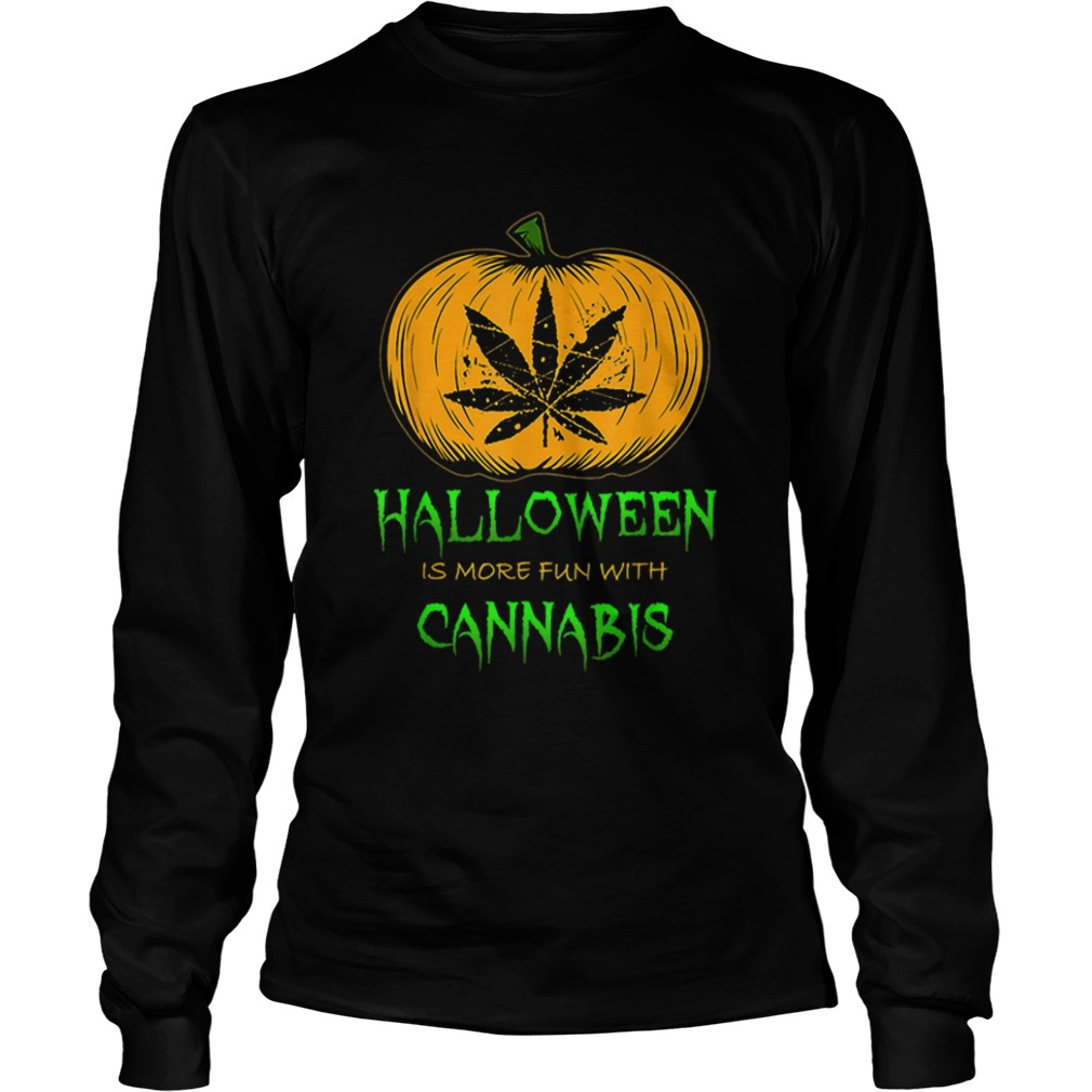 Halloween THC 420 Pumpkin Carving Stoner Cannibus Smoking LongSleeve