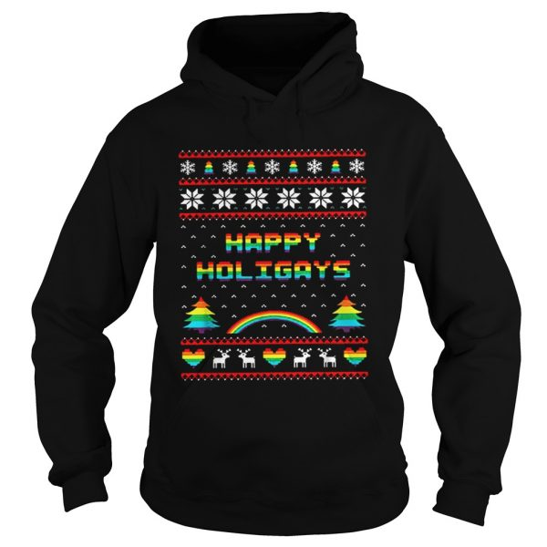 LGBT Happy holigays rainbow Christmas  Hoodie