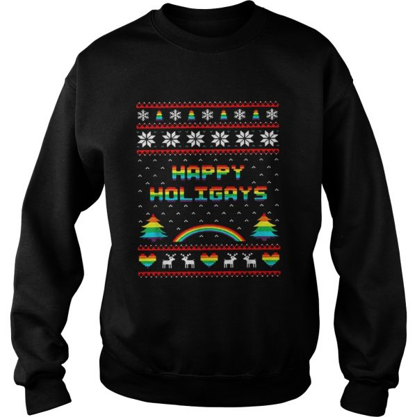 LGBT Happy holigays rainbow Christmas  Sweatshirt