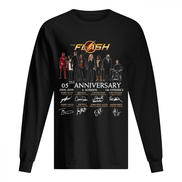 The Flash 05th anniversary 2014 2019 signature  Long Sleeved T-shirt