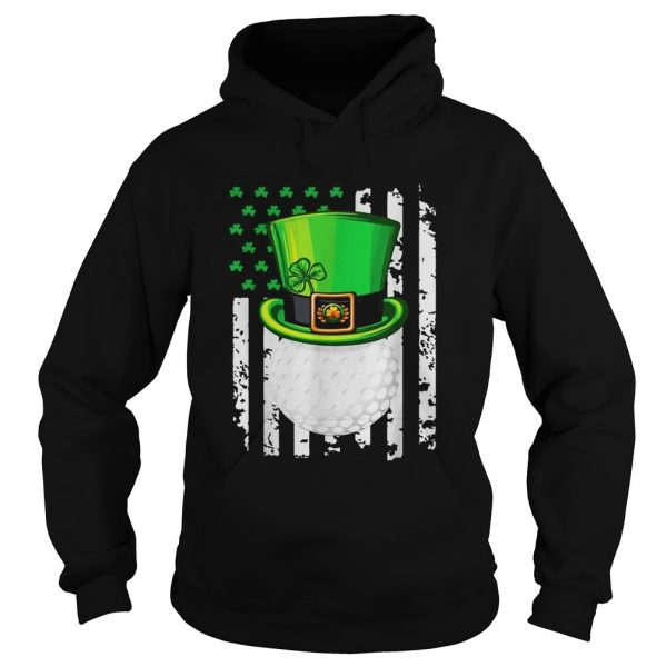 St Patricks Day Leprechaun golf and American flag  Hoodie
