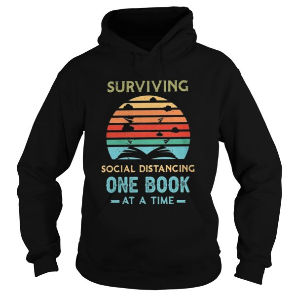 Surviving social distancing one book at a time vintage retro  Hoodie