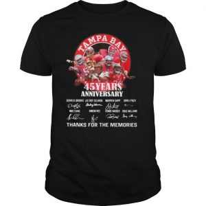 Tampa bay buccaneers 45 years anniversary thank you for the memories signatures shirt