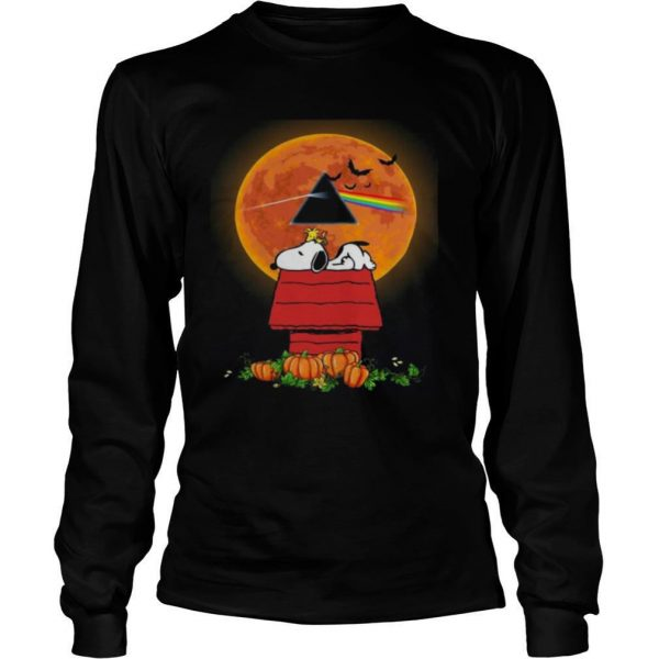Halloween Snoopy and Woodstock Poster Pink Floyd Pumpkin Moon shirt