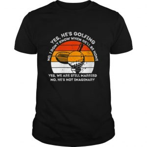 Womens Yes He Is Golfing Retro Vintage Golf shirt