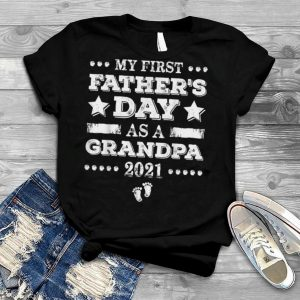 My First Father's Day As Grandpa New Baby Announcement Retro T Shirt