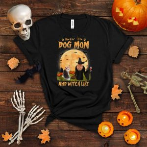Rocking The Dog Mom Witch Life Yorkshire Terrier Halloween T Shirt